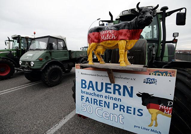 Una acción de protesta de los lecheros alemanes (archivo)