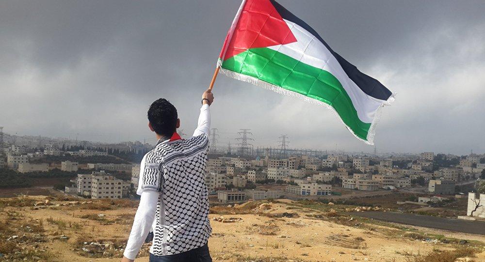 Un hombre con la bandera de Palestina (archivo)