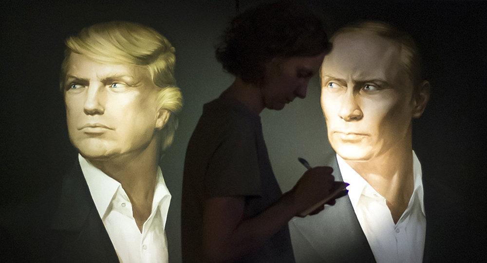 Los retratos de Donald Trump, ganador de las elecciones presidenciales de EEUU, y de Vladímir Putin, presidente de Rusia