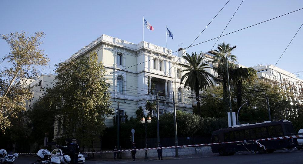 Embajada de Francia en Atenas, donde dos desconocidos lanzaron una granada