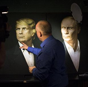 Retratos de Donald Trump y Vladímir Putin