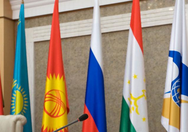 Las banderas de los países miembros de la Comunidad Económica Euroasiática