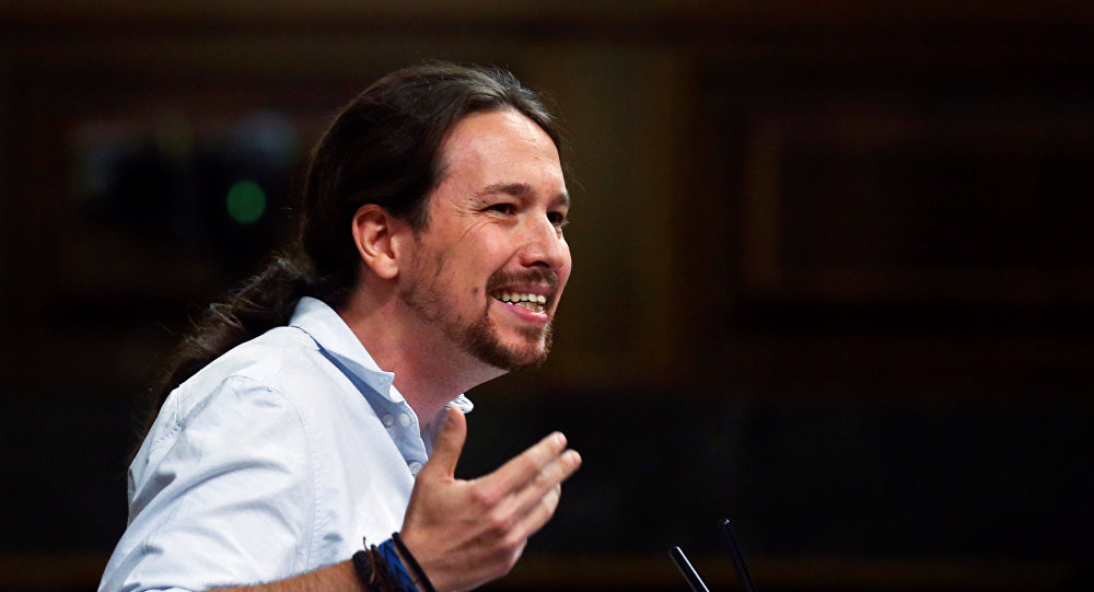 Leader of Podemos (We Can) party Pablo Iglesias delivers a speech during the investiture debate at Parliament in Madrid, Spain