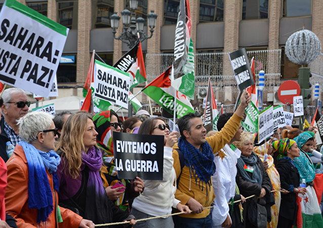 Manifestación en Madrid en apoyo del referéndum saharaui