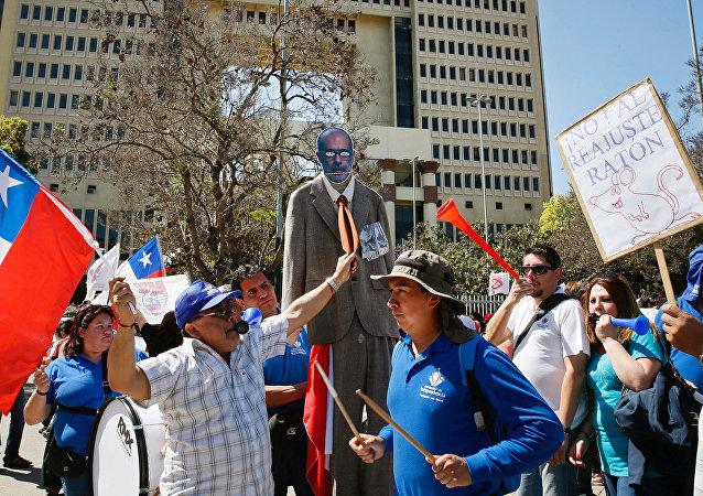Protestas de empleados del sector público en Chile