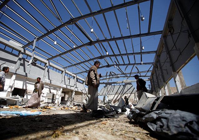Una planta destruida en los bombardeos de la coalición liderada por Arabia Saudí