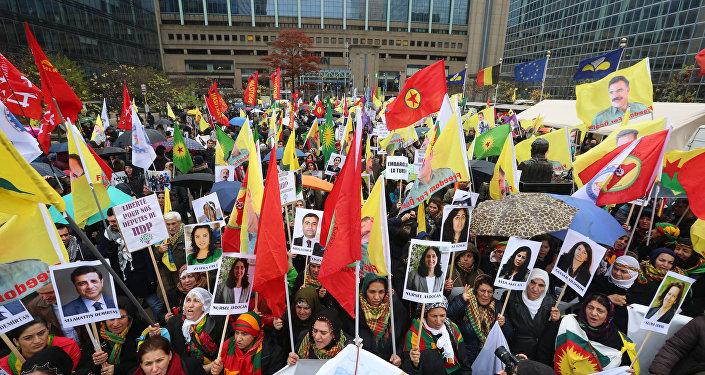 Una manifestación en Bruselas contra la política represiva del presidente turco Recep Tayyip Erdogan