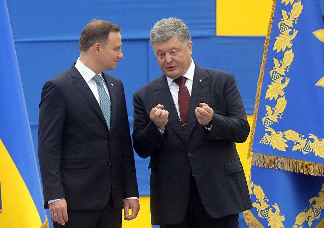 Presidente de Polonia, Andrzej Duda, y el presidente de Ucrania, Petró Poroshenko