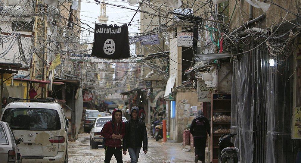 Bandera de ISIS (organización prohibida en Rusia)
