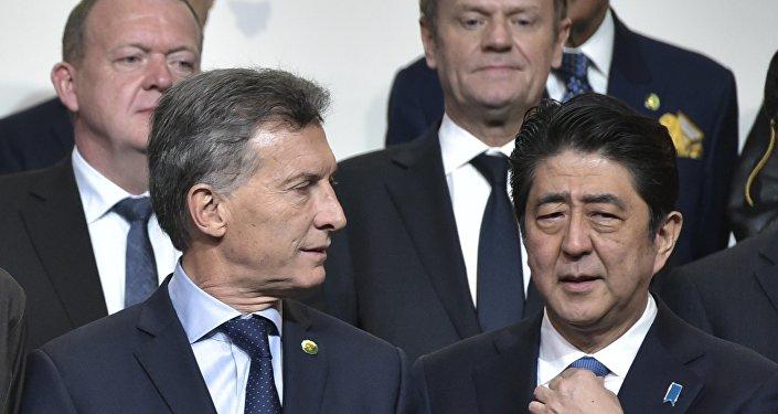 Presidente argentino, Mauricio Macri, y primer ministro japonés, Shinzo Abe