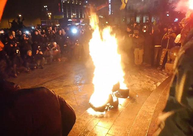 El aniversario de Maidán se celebra con disturbios de radicales