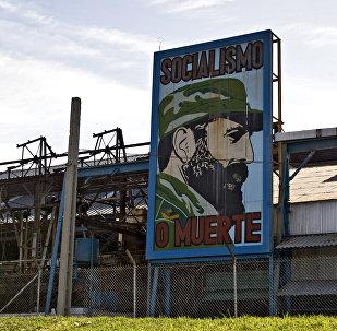 Cartel de Fidel Castro en la Habana, Cuba