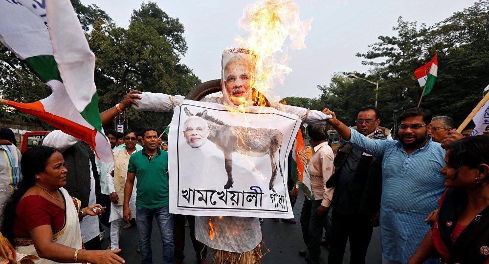 Protesta en India contra la reforma monetaria