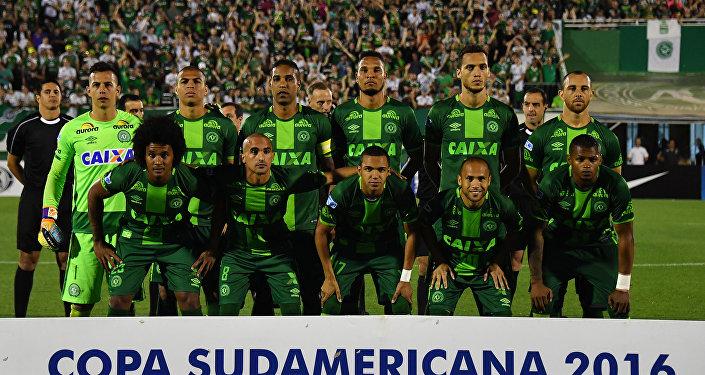 Los jugadores de Chapecoense brasileño durante el partido contra San Lorenzo argentino el 23 de noviembre de 2016