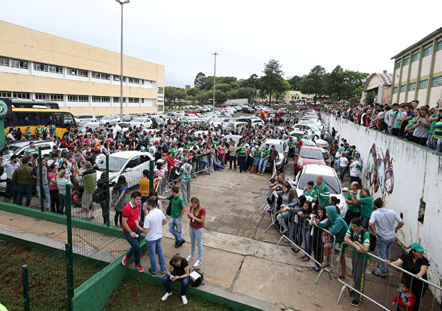 Fans of Chapecoense soccer team are pictured in front of the Arena Conda stadium in Chapeco, Brazil