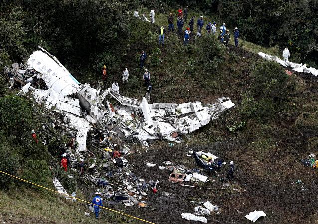 Los restos del avión siniestrado en Colombia