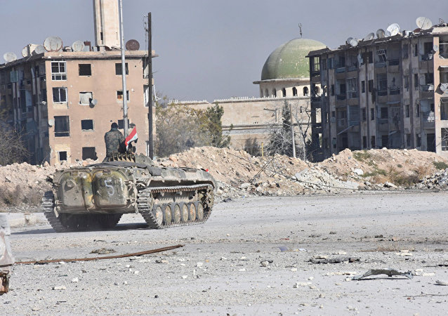 Las tropas gubernamentales sirias en Alepo