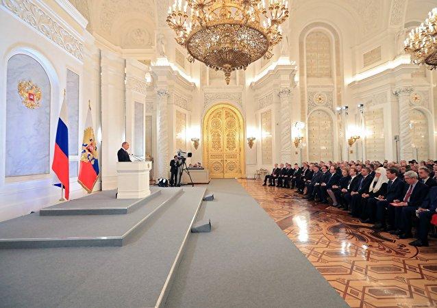 Vladímir Putin, presidente de Rusia, durante el mensaje anual a la Asamblea Federal