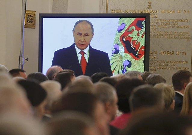 Vladímir Putin, presidente de Rusia, durante su discurso anual