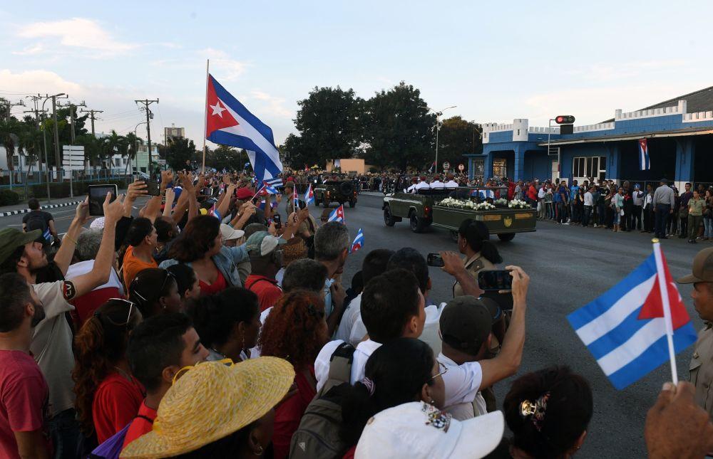 Cortejo fúnebre con las cenizas del comandante Fidel Castro en la ciudad de Santiago de Cuba