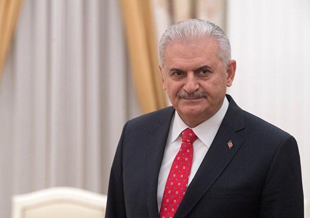 El primer ministro turco, Binali Yildirim, durante su visita a Moscú