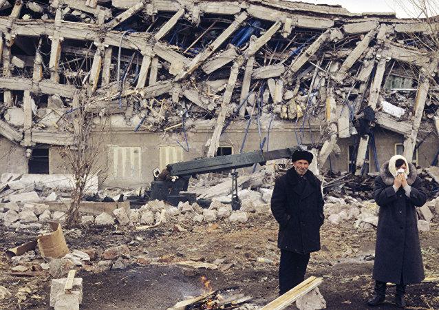La ciudad de Spitak despues del terremoto del 7 de diciembre de 1988