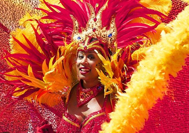Participante del carnaval en Río de Janeiro