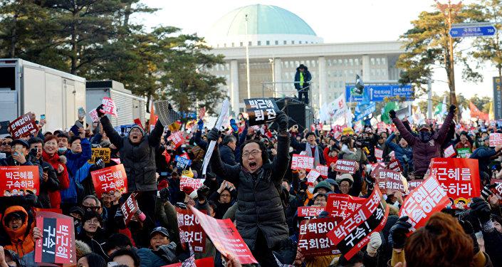 Protestas en Corea del Sur contra la presidenta Park Geun-hye