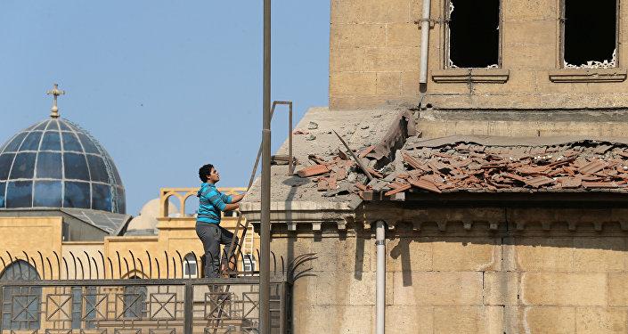 Consecuencias de la explosión en una iglesia ortodoxa copta en el Cairo, Egipto