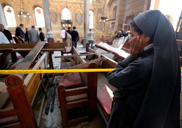 Dentro de la Iglesia copta donde ocurrió el atentado