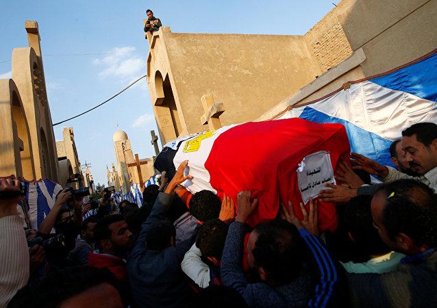 Funeral de las víctimas del atentado en la catedral copta en El Cairo, Egipto