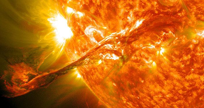 Ilustración gráfica de una eyección de masa coronal en el Sol
