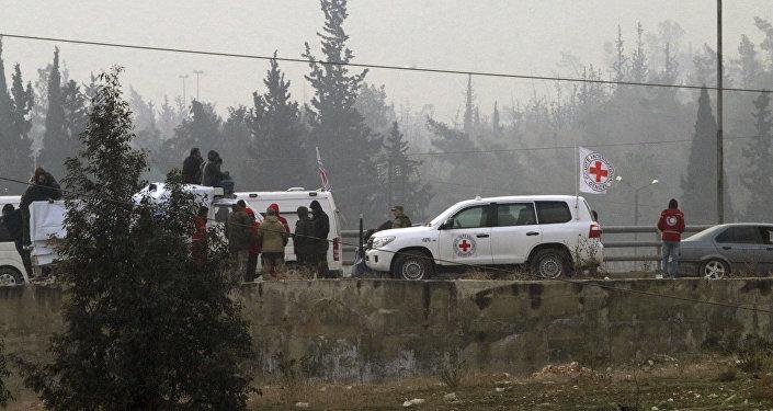 La cruz roja en Alepo, Siria