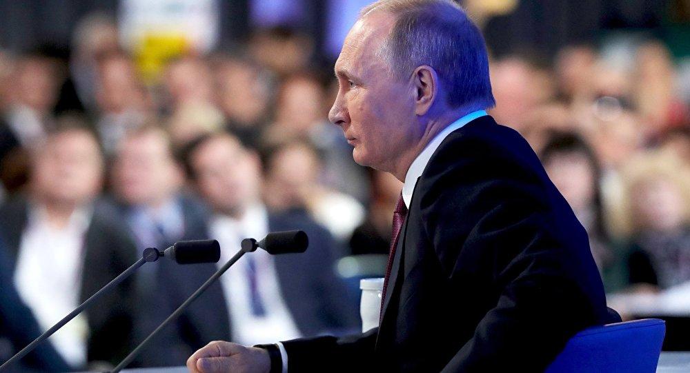 Vladímir Putin en una rueda de prensa