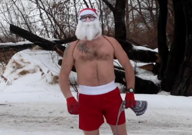 El duro entrenamiento del Papá Noel ruso