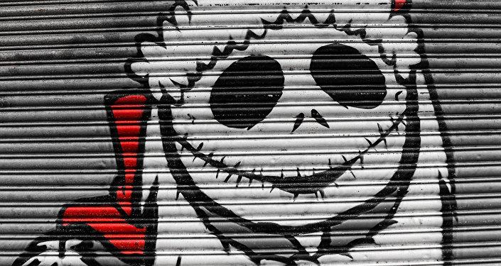 Un grafiti de Jack Skellington, protagonista de la animación 'Pesadilla Antes de Navidad'
