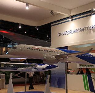 La maqueta del avion de pasajeros C919 de fabricacion china