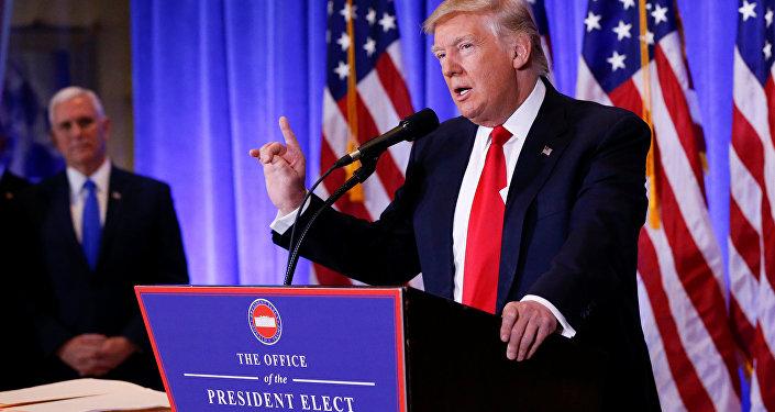 Presidente electo de EEUU, Donald Trump, durante su rueda de prensa