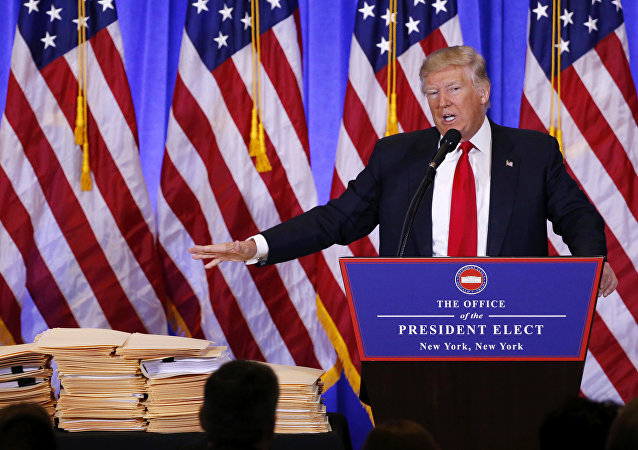 El presidente electo de EEUU, Donald Trump, durante una rueda de prensa en Trump Tower