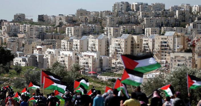 Palestinos llevan su bandera (archivo)