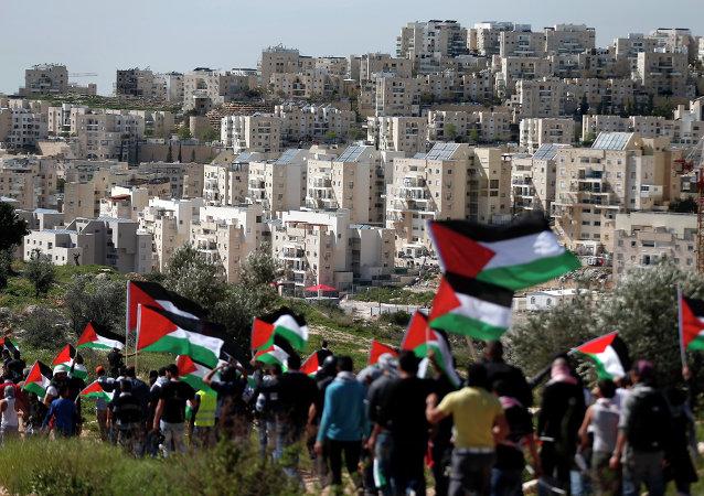 Palestinos con su bandera (archivo)