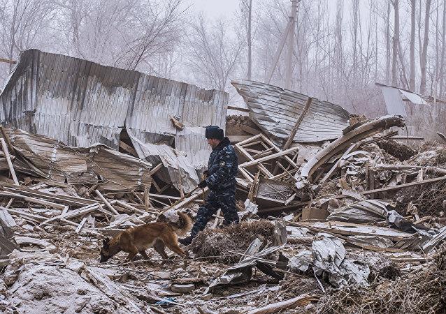 El lugar del siniestro en Kirguistán
