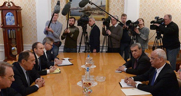 La reunión de Serguéi Lavrov, canciller ruso, con los representantes de las principales fuerzas políticas de Palestina