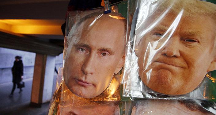 Mascaras del presidente de Rusia, Vladímir Putin y su homólogo estadounidense, Donald Trump