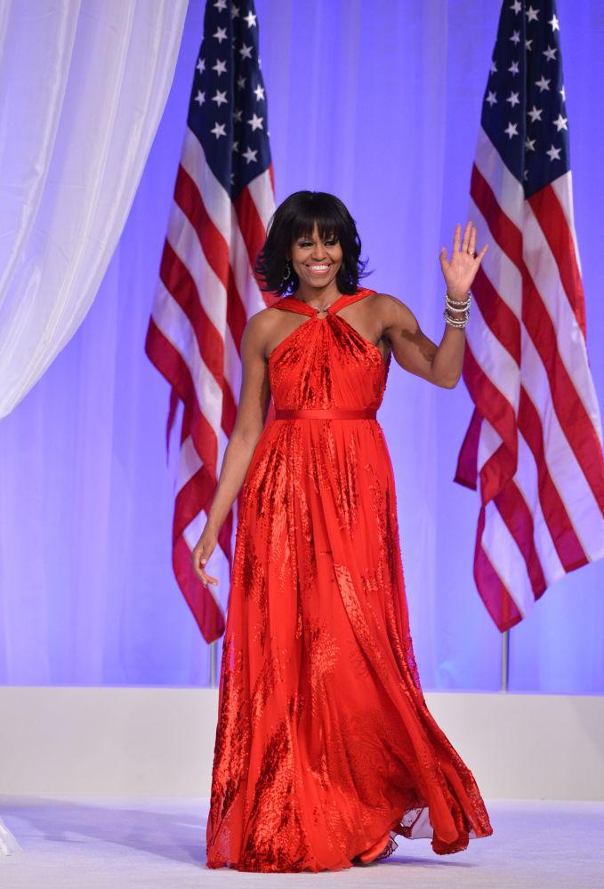 La primera dama, Michelle Obama, en el baile de honor de la investidura de 2013