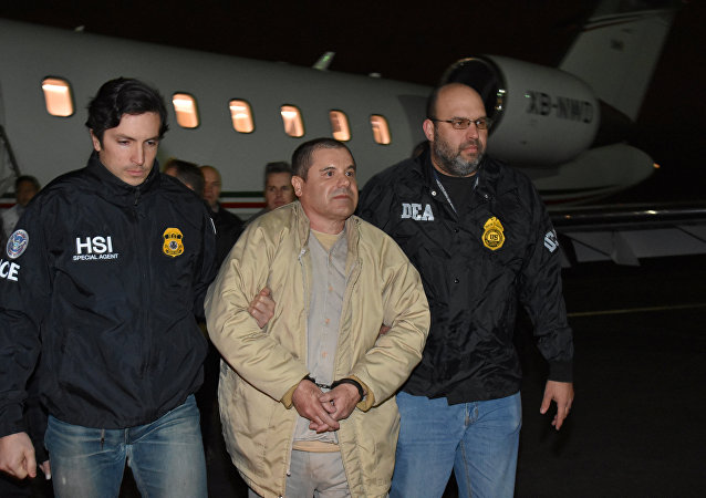 Mexico's top drug lord Joaquin El Chapo Guzman is escorted as he arrives at Long Island MacArthur airport in New York, U.S., January 19