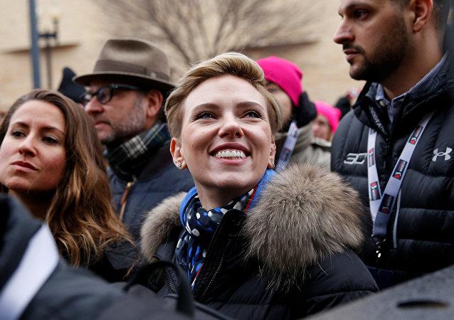 La actriz Scarlett Johansson durante la Marcha de las Mujeres en Washington