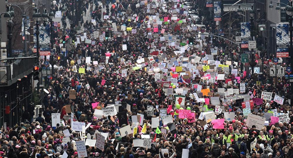 Marcha de las Mujeres en Nueva York en contra del presidente Donald Trump