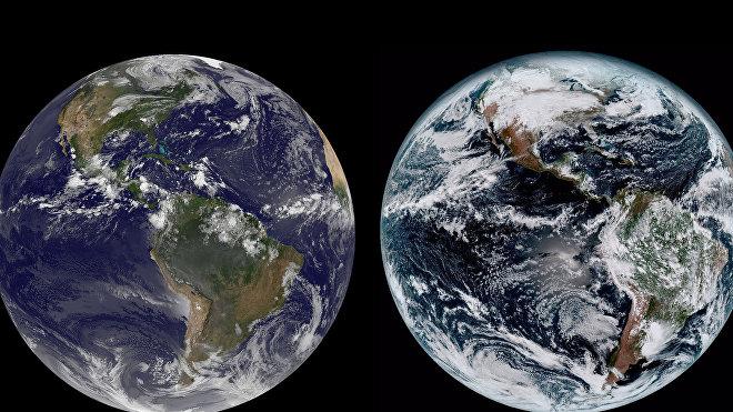 Imagen satelital de la tierra tomada por el GOES-16