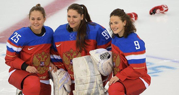 Jugadoras rusas de hockey sobre hielo (Archivo)